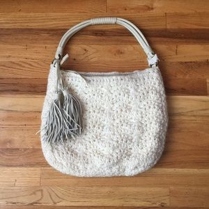 Handbags - Woven Handbag w/ Leather Handles & Tassels